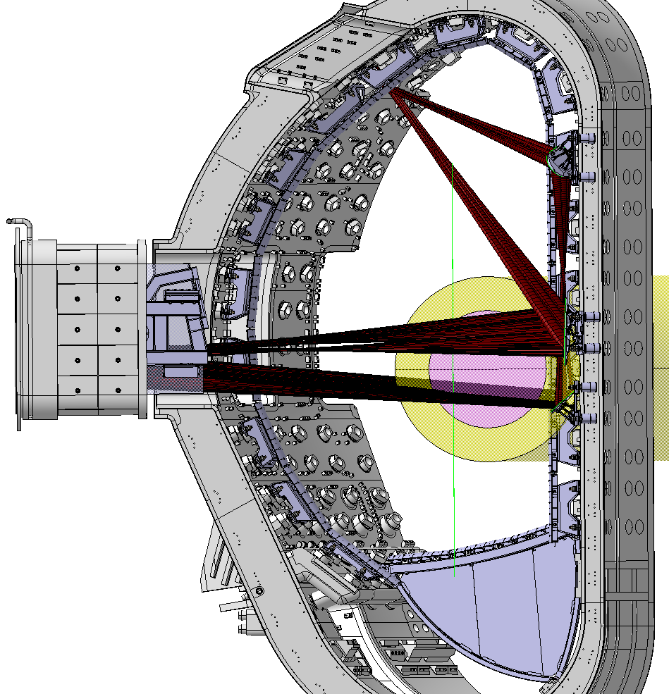 Design of the vacuum vessel showing the stainless steel First Plasma Protection Components including the poloidal limiters, the divertor replacement structure, and the ECH mirrors on the inner wall that reflect the ECH beams from one upper launcher into an equatorial port with an absorbing beam dump.  The expected plasma breakdown (pink) and halo current (yellow) regions are also shown